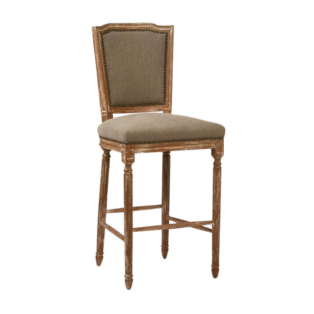Neoclassical Hardwood & Linen Bar Stool - Image 1 of 2