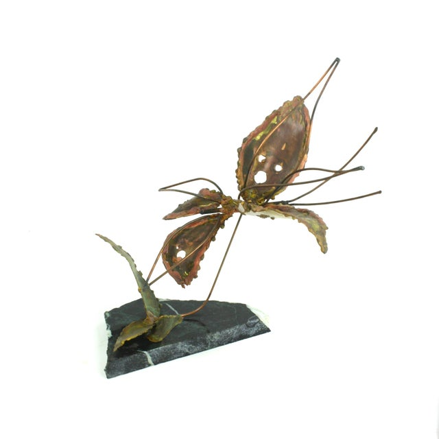 Copper Kinetic Butterfly Sculpture - Image 3 of 6