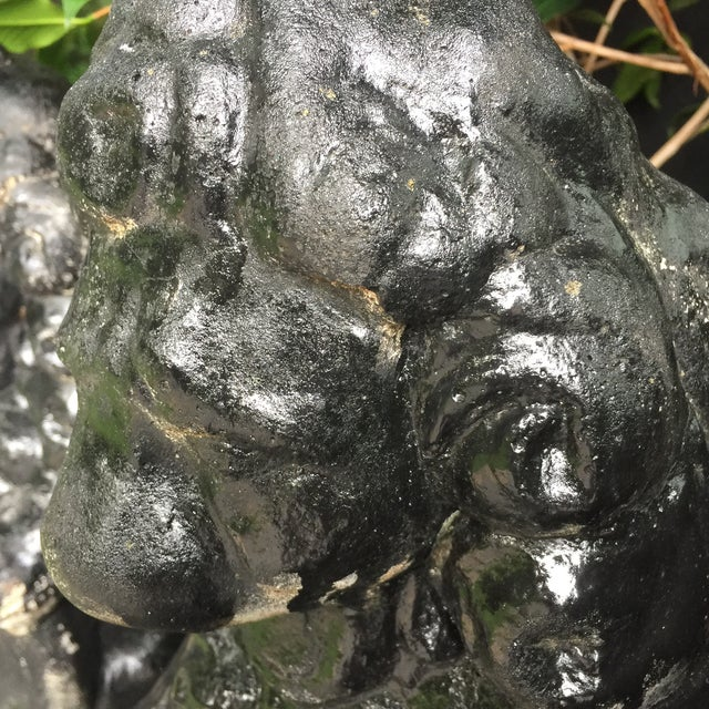 Asian Antique Black Stone Lion Foo Dogs - A Pair For Sale - Image 3 of 5