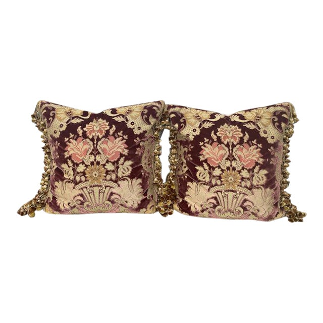 Traditional Janet Yonati Silk Velvet Pillows - a Pair For Sale