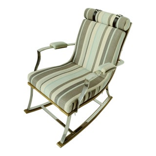 1950s Contemporary Striped Upholstery Wood Rocking Chair