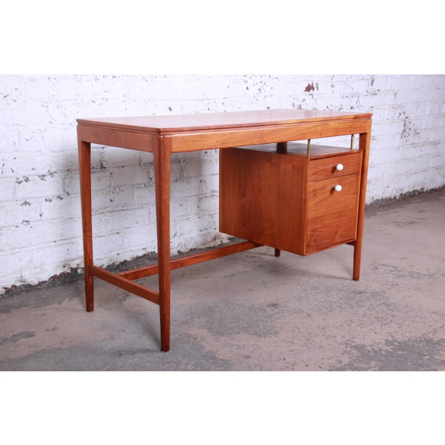 Brass Kipp Stewart for Drexel Declaration Mid-Century Modern Walnut Desk and Chair For Sale - Image 7 of 13