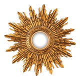 Image of Antique French Giltwood Sunburst Convex Mirror For Sale