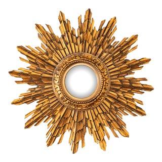 Antique French Giltwood Sunburst Convex Mirror For Sale