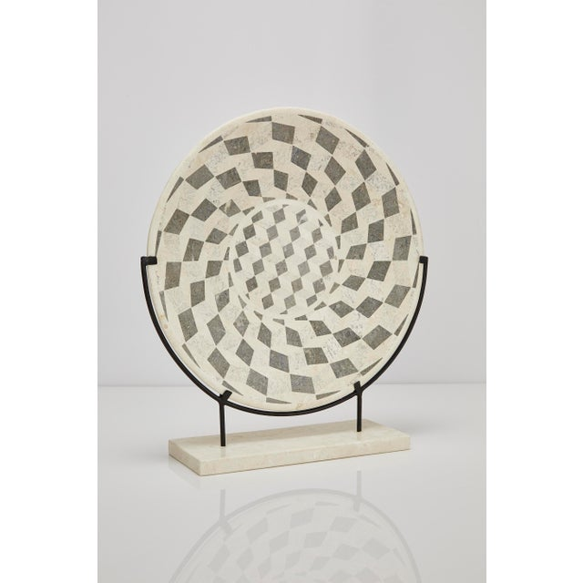 "White 1990s Contemporary Marquis Collection Tessellated Stone ""Illusion"" Plate on Iron Stand For Sale - Image 8 of 12"