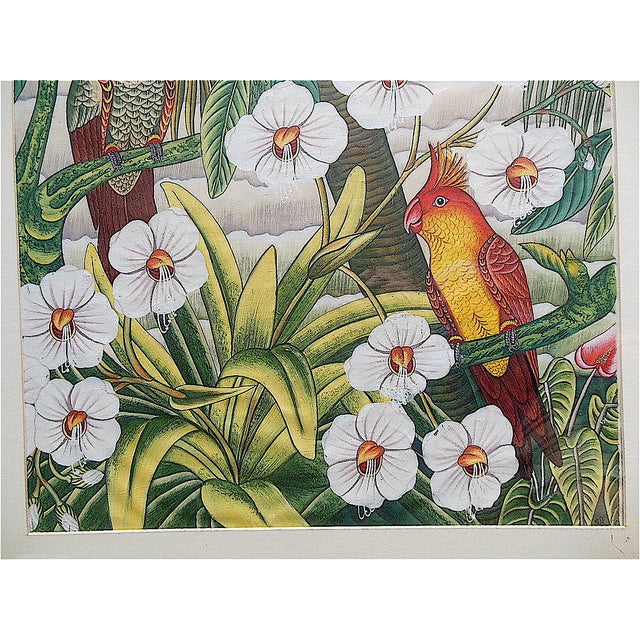 Asian Large Vintage Signed Asian Painting-Tropical Scene For Sale - Image 3 of 8