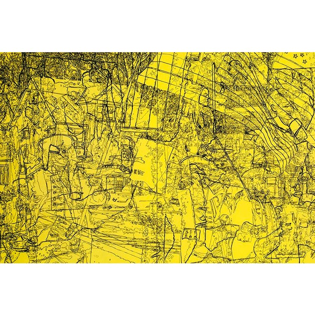 """Spirit of '76 is a large acrylic painting on two cradled panels measuring 72"""" x 48"""". It displays a mix of line drawings..."""