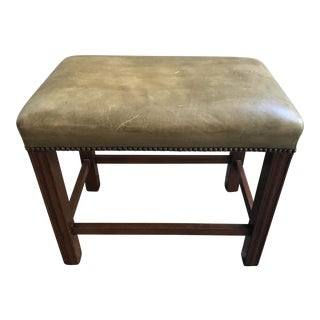 Vintage English Leather Top Bench/Luggage Rack