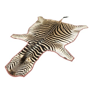 "Forsyth Zebra Hide Rug Trimmed in Blush Pink Velvet - 6'8"" x 8'5"" For Sale"