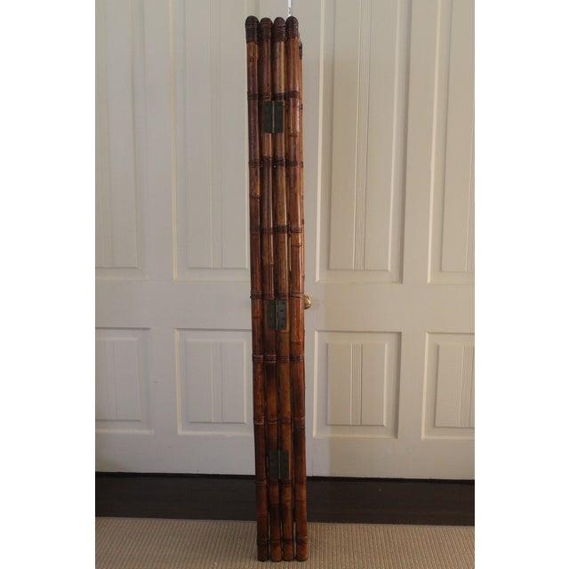 Vintage Bamboo Rattan Folding Room Divider For Sale - Image 11 of 12