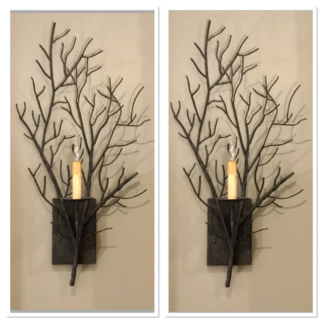 Currey & Co. Organic Modern Iron Branch Wall Sconces Pair For Sale In Atlanta - Image 6 of 6
