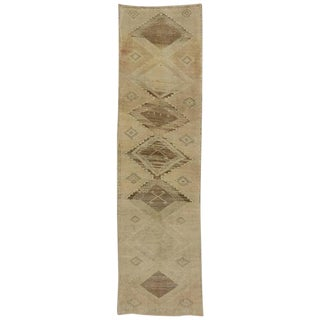 Vintage Turkish Oushak Carpet Runner with Muted Colors and Casual Style