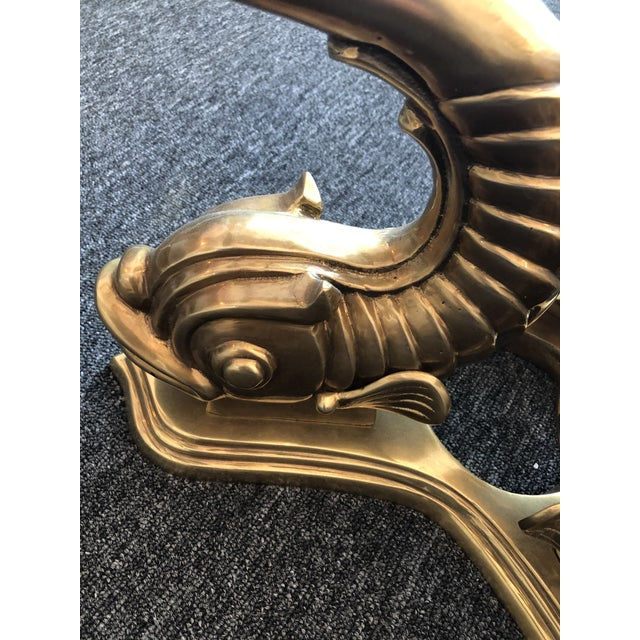 Metal 1970s Neoclassical Dolphin Coffee Table Base For Sale - Image 7 of 9
