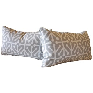 Heather Grey Dancer Fabric Pillows - Pair For Sale