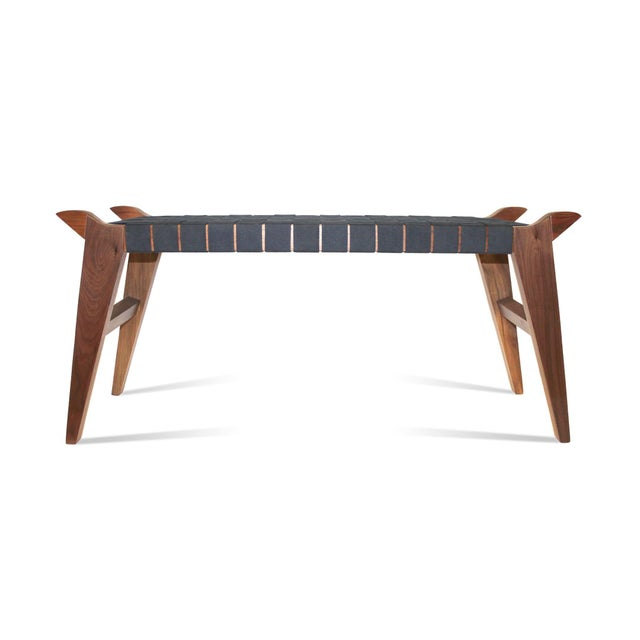 2010s 'Arvid the Long' Modern Wood & Webbing Bench For Sale - Image 5 of 5
