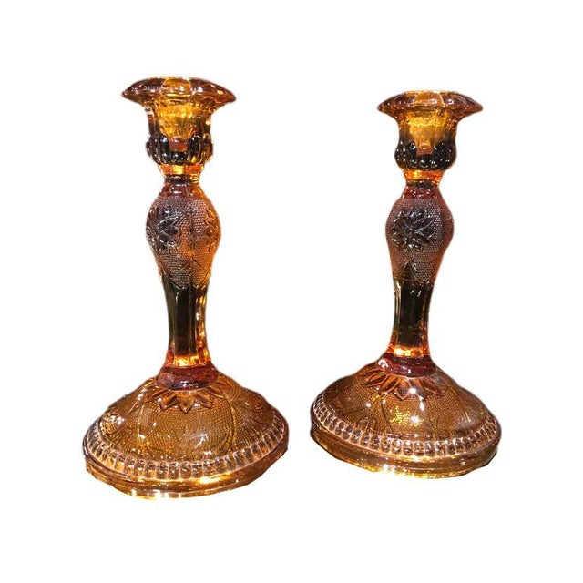 Glass 1960s Amber Glass Candlestick Holders - a Pair For Sale - Image 7 of 7