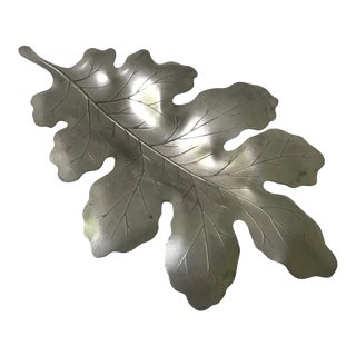 Vintage Etched Pewter Leaf For Sale