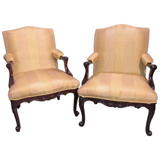 Pair of George II Scroll Foot Armchairs For Sale