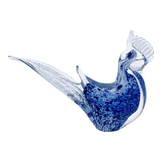 Blue Aventurine Venetian Murano Glass Bird Paperweight For Sale