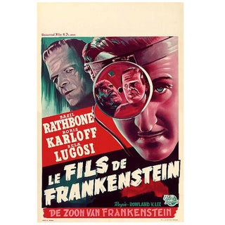 """The Son of Frankenstein"" Movie Poster Astounding Condition 1950s Rerelease Sale For Sale"