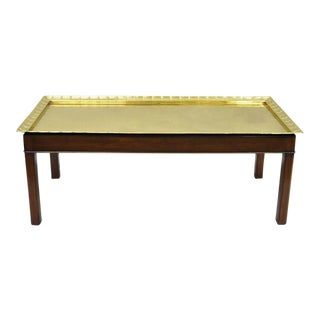 Campaign Style Mahogany and Brass Tray Top Coffee Table For Sale