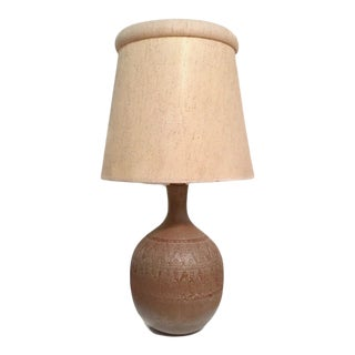 1960s Mid Century Modern Oversized Pottery Lamp With Original Shade For Sale