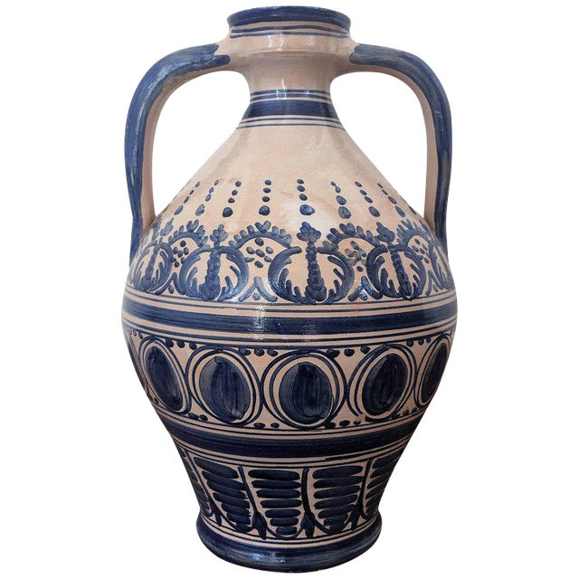 Striking Continental Glazed Earthenware Blue and White Painted Urn For Sale
