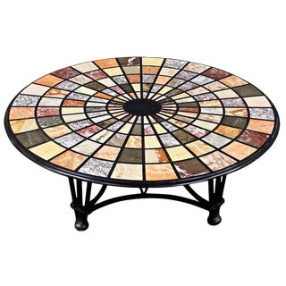 Vintage Modern Pietra Dura Specimen Marble Coffee Table With Iron Base For Sale