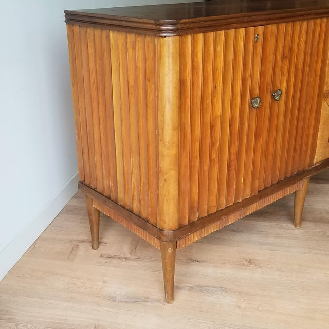 Mid 20th Century 9' Custom Made Italian Credenza With Hand Carved Reliefs For Sale - Image 5 of 13