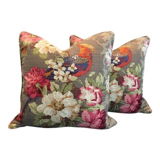 P Kaufmann Multi-Floral and Bird Design Pillows - A Pair For Sale