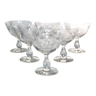 Mid-Century Star Cut Crystal Goblets - Set of 6 For Sale