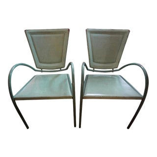 Italian Iron and Leather Chairs by Sawaya & Moroni - a Pair For Sale