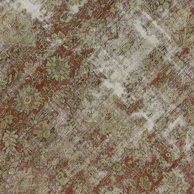 Distressed Antique Persian Mahal Rug with Modern Industrial Style For Sale - Image 4 of 8