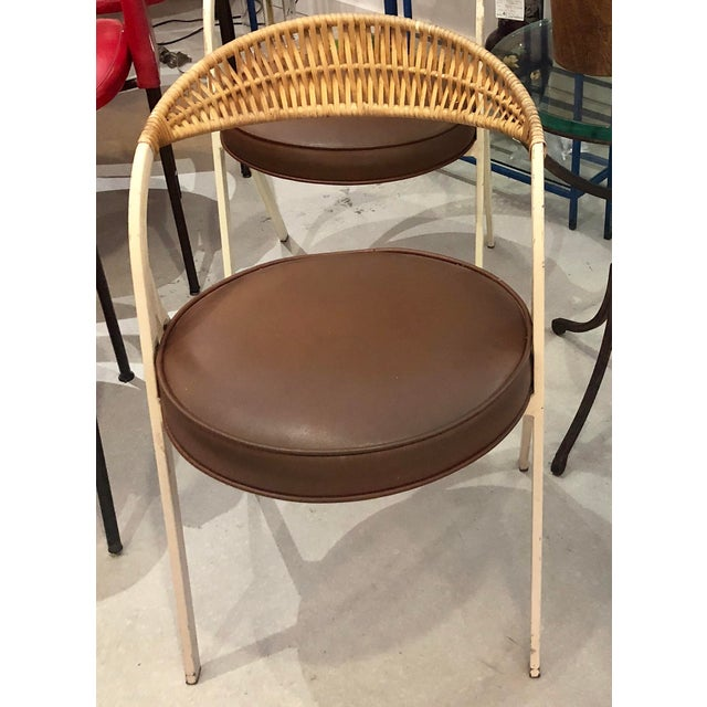 1960s Vintage Arthur Umanoff for Shaver Howard Painted Wrought Iron and Rattan Dining Chairs- Set of 3 For Sale - Image 10 of 13