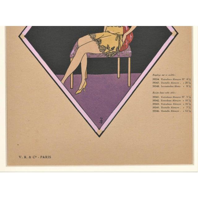 Matted French Art Deco Vintage Lingerie Fashion Pochoir For Sale - Image 4 of 5