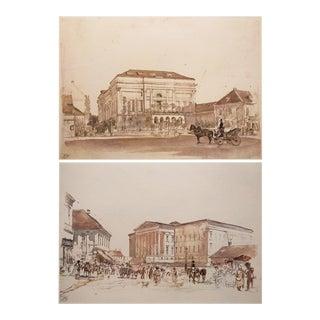 1959 Neoclassical Rudolph Von Alt Lithographs - a Pair