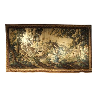 Large 18th Century Wool and Silk Verdure Landscape Tapestry From Flanders For Sale