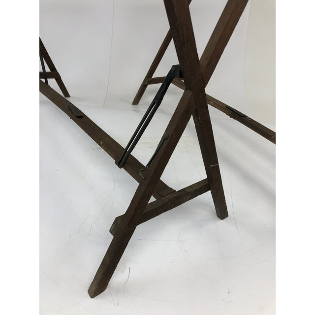 Vintage Industrial Wood Table Bases - a Pair For Sale - Image 4 of 12