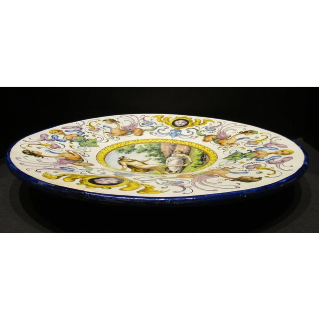 Late 19th Century Italian Majolica Hand Painted Semi Nudes Impressed Ad Charger For Sale - Image 9 of 13