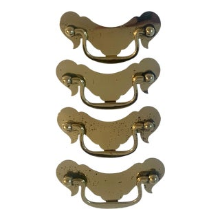 Brass Chippendale Door Pulls Handles - Set of 4 For Sale
