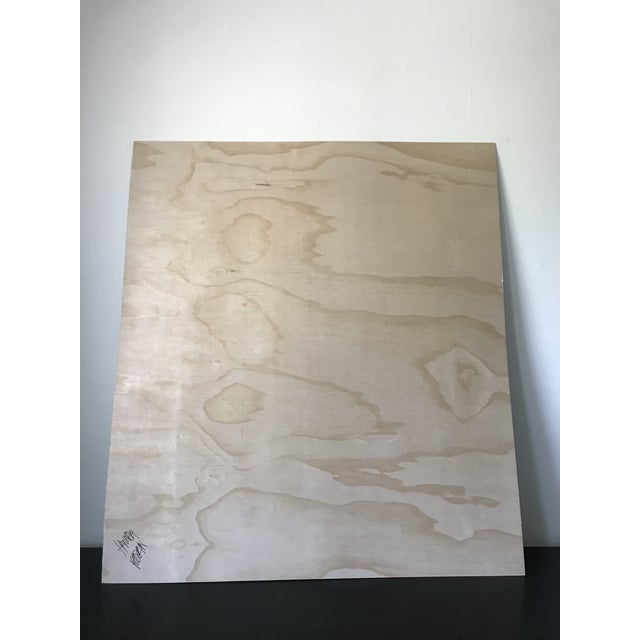 Wood Oversized Neutral Abstract Critter Painting on Plywood For Sale - Image 7 of 9
