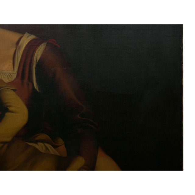 """Brown """"Madonna & Child"""" 19th Century Copyist Oil Painting After Orazio Gentileschi For Sale - Image 8 of 13"""