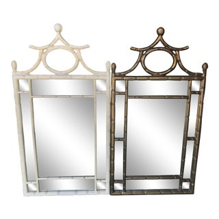 Pair 1980's Faux Bamboo Pagoda Mirrors For Sale