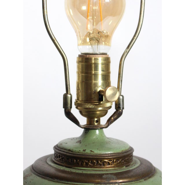 1930s 1930s French Green & Gold Accent Lamp For Sale - Image 5 of 7