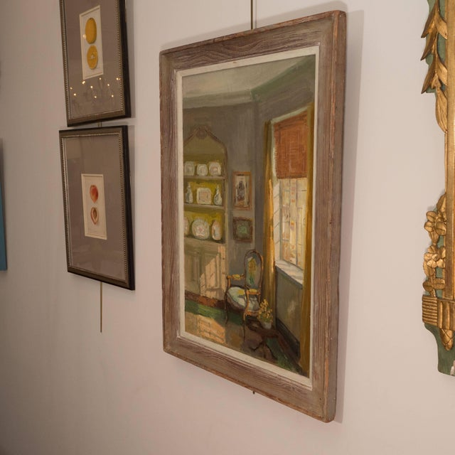 Framed Oil Painting of an Interior For Sale - Image 9 of 11