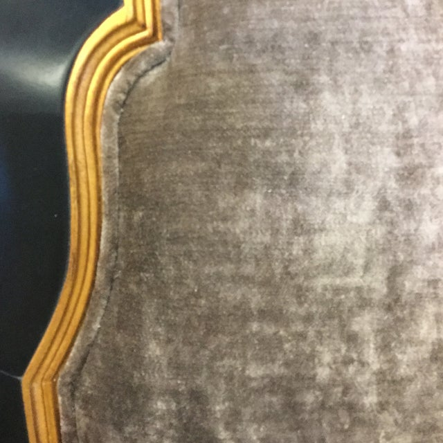 Gold Leaf Jonathan Charles Regency Style Upholstered King Size Headboard For Sale - Image 7 of 11