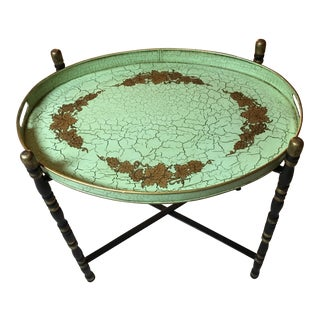 Hand Painted Green Oval Tole Tray on Folding Iron Stand For Sale