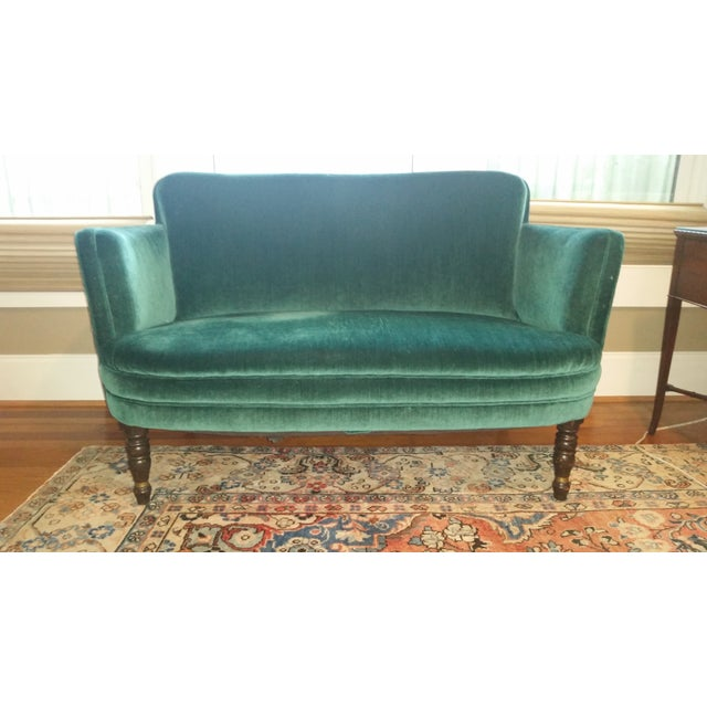 Purchased from an high end estate sale a year ago, this teal-green velvet love seat is in good structural shape and has...