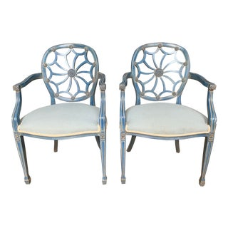 Mid-20th Century George Hepplewhite Spider Web Back Armchairs - a Pair For Sale
