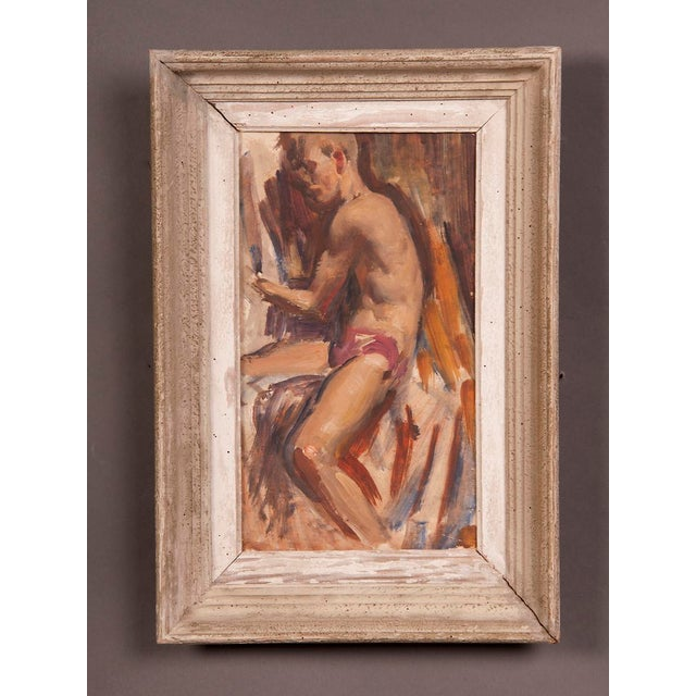 Contemporary Signed painting by English artist Victor Hume of an Athlete, circa 1960 For Sale - Image 3 of 8